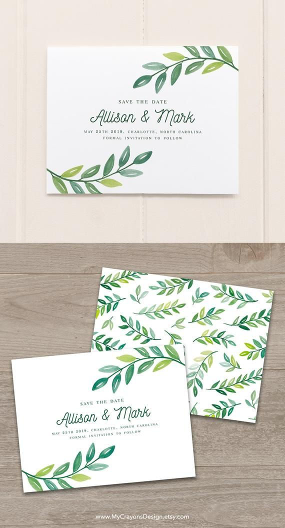 Create Your Own Save The Date Card With This Greenery Wedding Template By Mycrayons Design