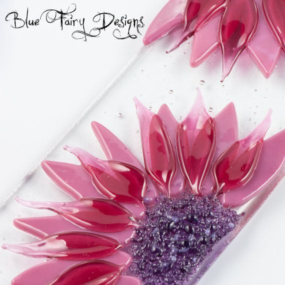 Double Pink Flower Fused Glass Wall/Window by BlueFairyDesigns