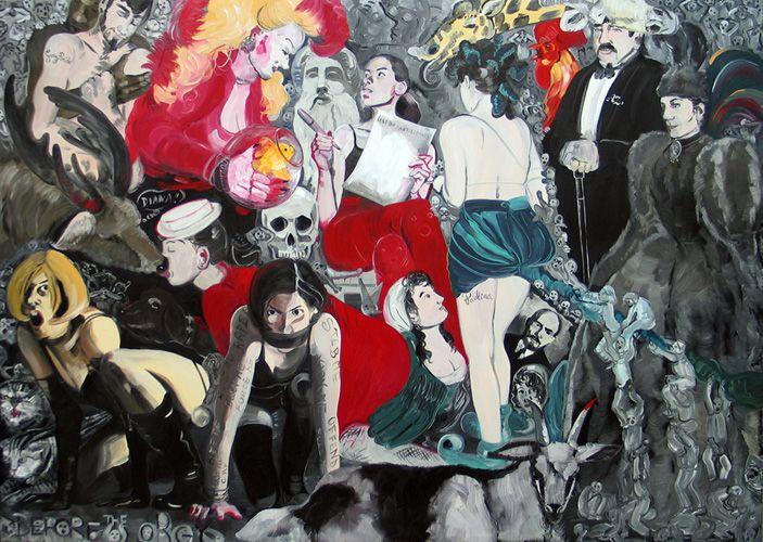 Before the Orgy, 2012, oil on canvas, 150 x 210 cm (painting dedicated to A. Zaucha and P. Klossowski)  / Przed orgią, 2012, olej na płótnie, 150 x 210 cm (obraz dedykowany A.Zausze i P.Klossowskiemu)