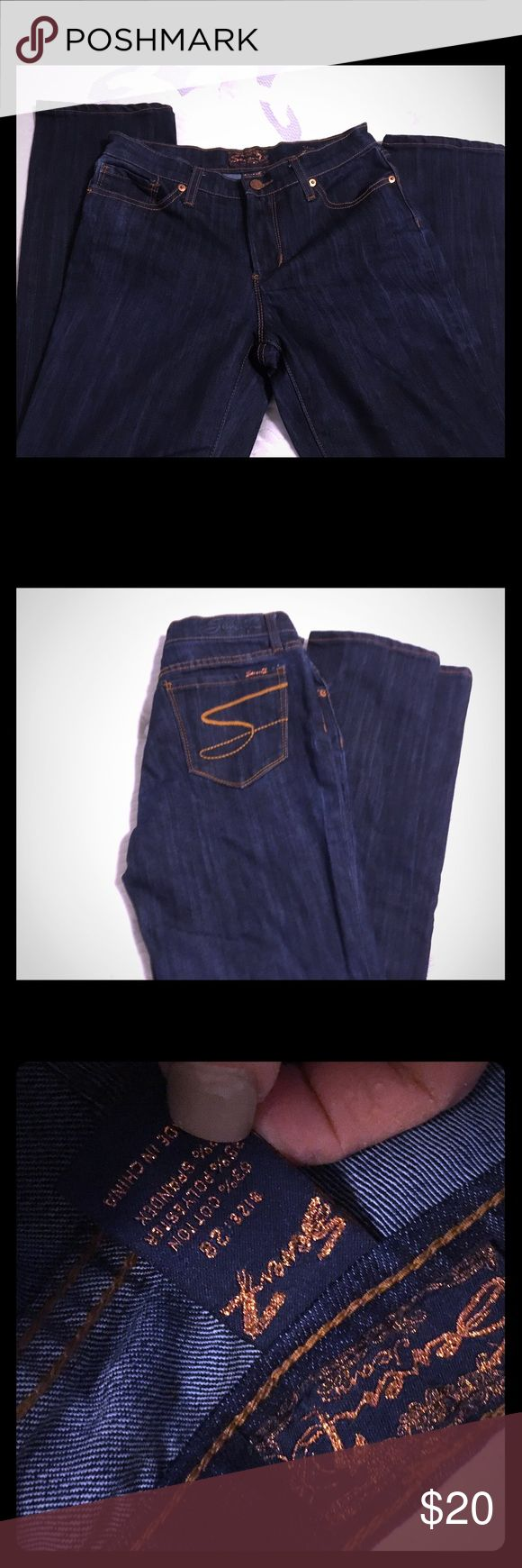 Seven jeans Seven jeans worn once washed once dark slim fit straight leg sz 28 💙 Seven7 Jeans Straight Leg