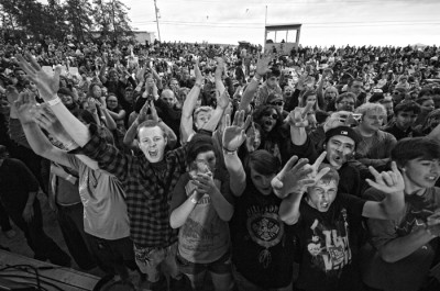 The crowd at Folk on the Rocks music festival in Yellowknife gets revved up!