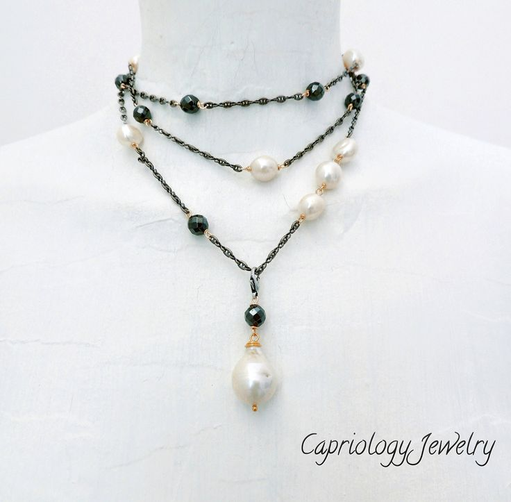 """Black & White.... Beautiful necklace with freshwater pearls, hematite, dark """"Marina"""" chain. Created by Capriology Jewelry on the beautiful island of Capri."""