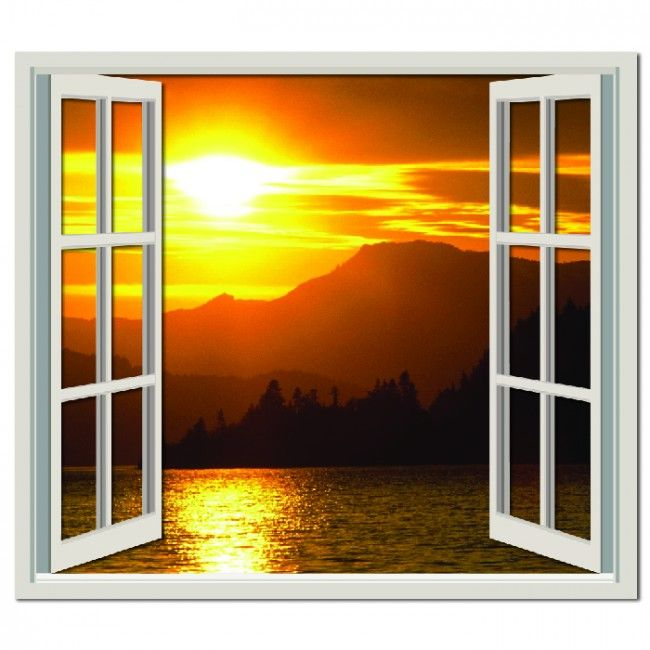 Mountain Sunset Wall Sticker Window Wall Decal