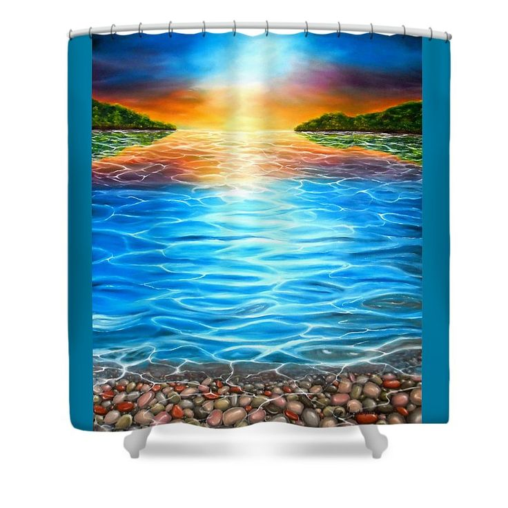Shower Curtain,  bathroom,accessories,unique,fancy,cool,trendy,artistic,awesome,beautiful,modern,home,decor,design,for,sale,unusual,items,products,ideas,blue,coastal,sunset,sea,pebbles