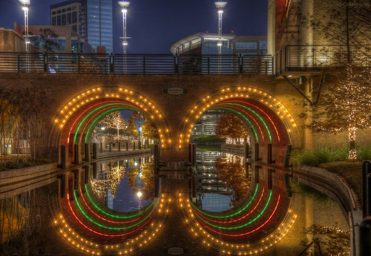 The Woodlands Waterway is a beautiful night time stroll in The Woodlands, TX