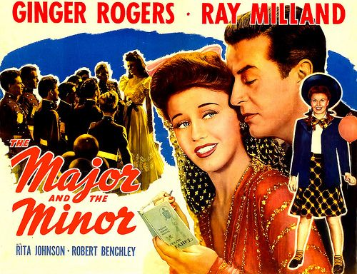 """The Major and The Minor"" GInger Rogers, Ray Milland: Memor Movies, Ginger Rogers, Minor A Incrível, 1942 Movies, Kids, Poster Quadro-Negro, Major, Gingers Rogers, Stars Gingers"