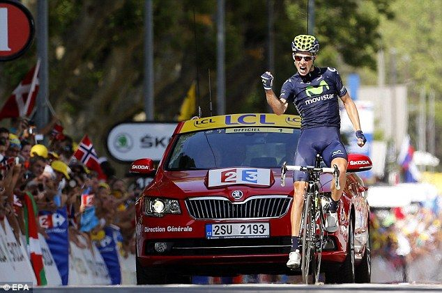 Over the line: Rui Costa celebrates as he wins the 16th stage of the Tour de France on Tuesday
