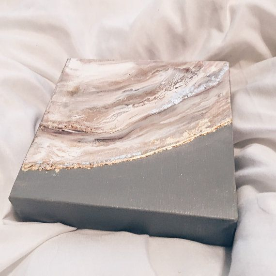 Neutral gold leaf painting 6x6 agate geode painting silver