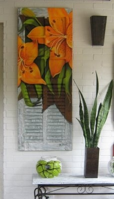 Shutter painted with Tiger Lily..great decorative wall piece...Argina Seixas