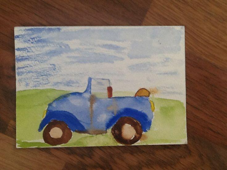 Denne er også malt på et kort. Med vannbasert Malin. Da jeg var 11.