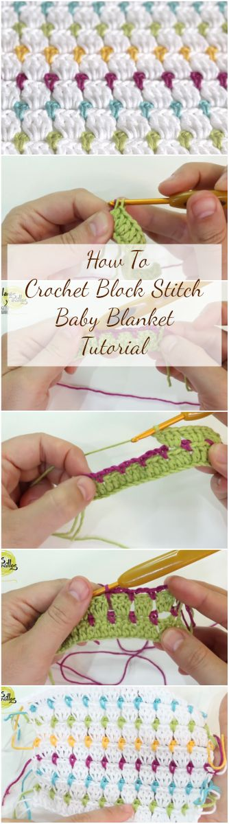 How To Crochet Block Stitch Baby Blanket Tutorial
