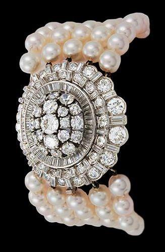 Platinum 5 row Pearl & Diamond Bracelet