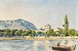 "Jakob Alt, ""Ansicht des Franziskanerklosters Paludi bei Spalato"",  watercolor on paper, 1840"