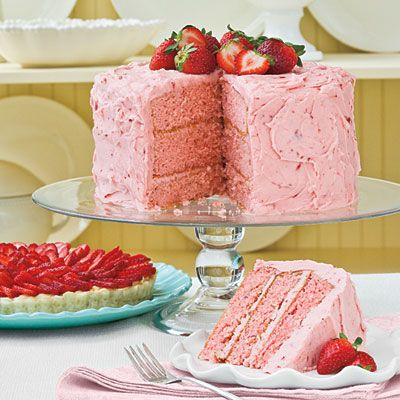 Triple-Decker Strawberry Cake | Layers of moist strawberry cake and Strawberry Buttercream Frosting make this three-layer cake a must for strawberry lovers.