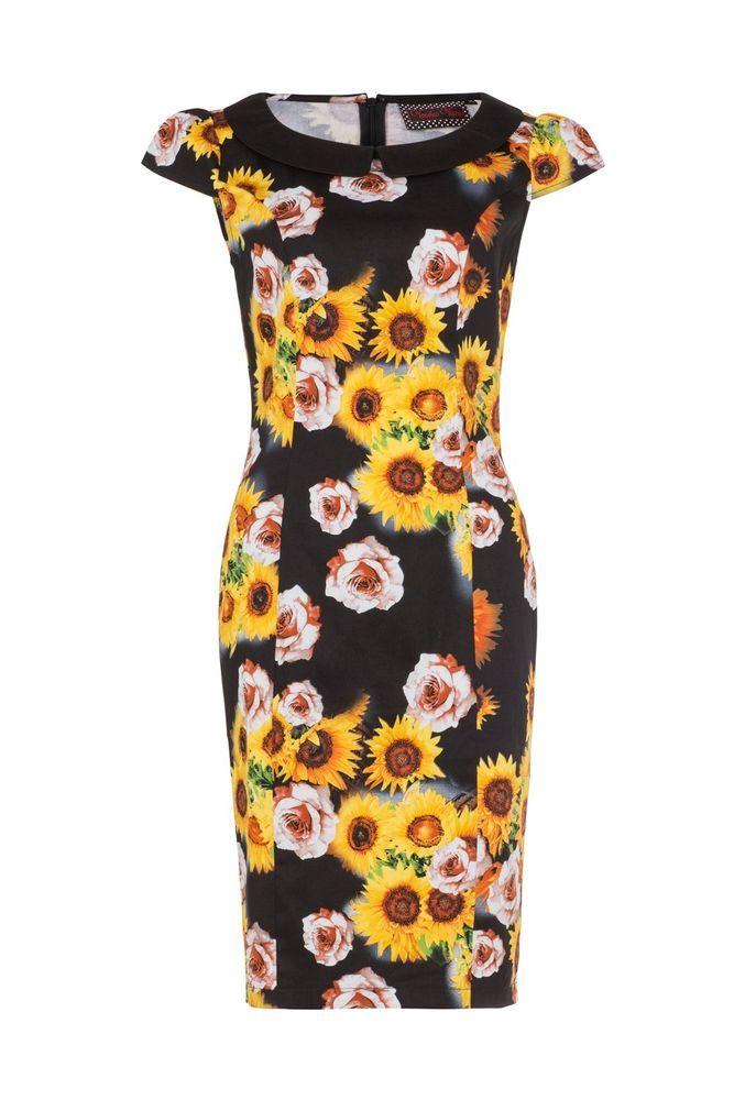 eda1d4855cf0 Voodoo Vixen Mid Century Nahla Black Yellow Sunflower Tiki Oasis Pencil  Dress M #VoodooVixen #Retro60sStunnerMidCenturyRetro #SummerTikiOasis