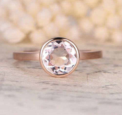 Corte Redondo 8x8mm Morganita 14K Rosa Oro bisel conjunto anillo de compromiso de boda