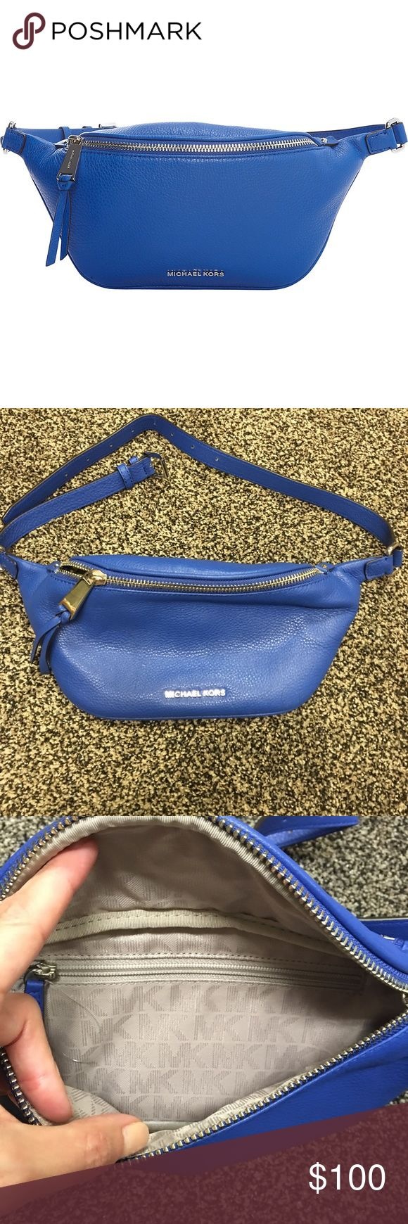 Michael Kors Blue Zip Belt Bag used once Blue leather stylish fanny pack with inside zipper pocket Michael Kors Bags Travel Bags
