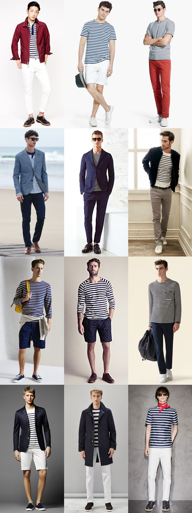 Men's Summer Nautical Style: Breton Stripe T-Shirts and Tops Outfit Inspiration Lookbook