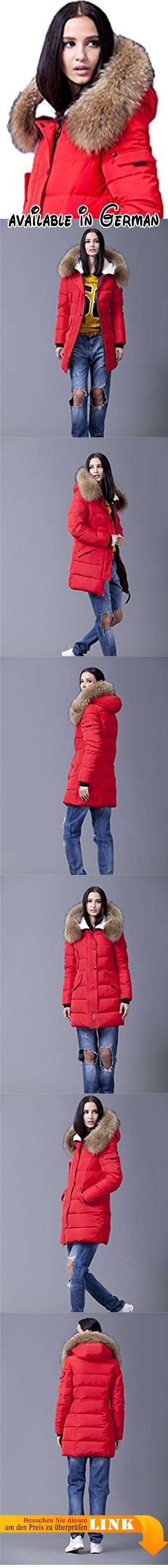 Sunrolan Damen Mantel Daunenmantel Steppmantel Wintermantel Daunenjacke lang mit Kapuze Echtes Fellkragen Rot S. Material Füllung: 70% Daunen, 30% Federn. Detail Kapuze: unabnehmbare Kapuze, abnehmbares echtes Fellkragen. Taschen: zwei Außentaschen. Leicht tailliert, nicht wasserdicht. Hinweis: um die passende Größe auszuwählen, überprüfen Sie bitte Größentabelle in der Produktebeschreibung! #Apparel #OUTERWEAR