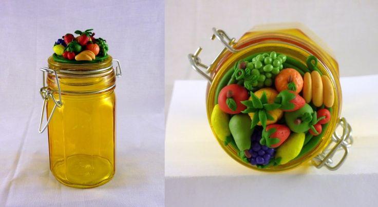 Barattolo in vetro con decorazioni di frutta in FIMO fatte a mano - Fruit in fimo polymer clay handmade decorated jar