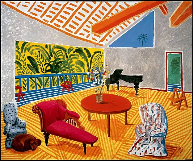Interior with Sun and Dog by David Hockney                                                                                                                                                                                 More