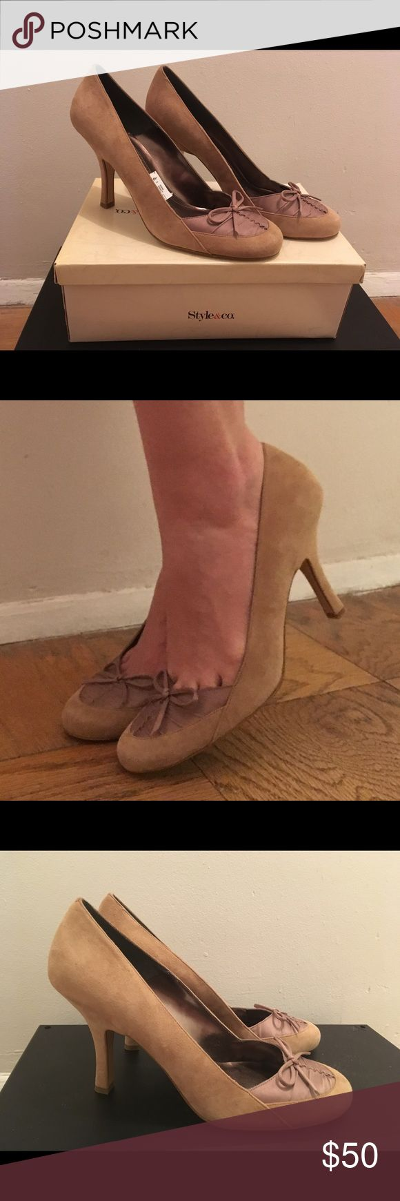 NWT Style & Co Latte Size 11 Pumps Brand new, never worn! Size 11 suede latte (tan, camel) pumps  Leather and fabric upper 3.75 inch heel Style & Co Shoes Heels