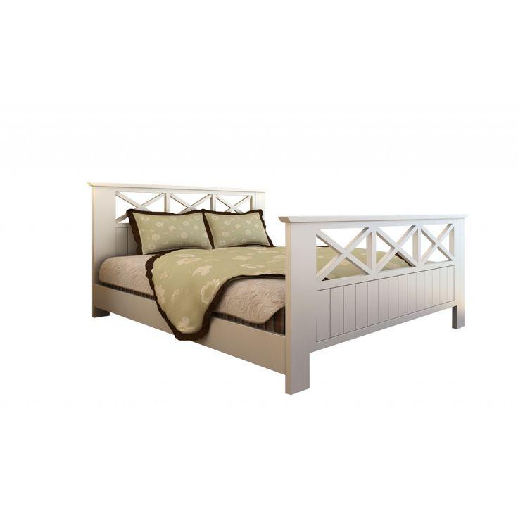 Säng Prag 140x200 cm trä vit inkl. madrass