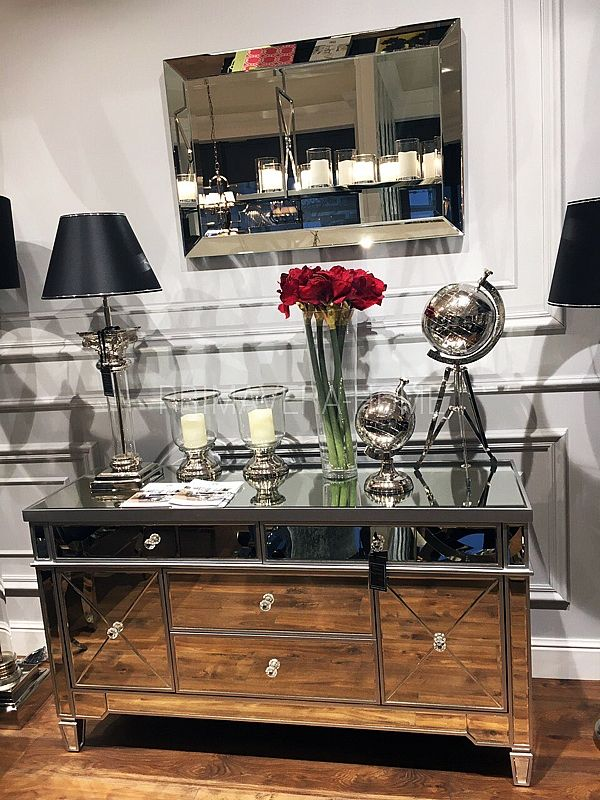 Komoda Lustrzana szafka nocna srebrna styl glamour BELGRAWIA