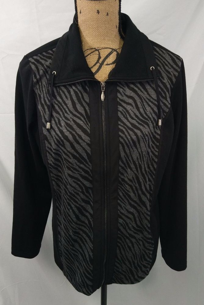 Weekends by Chico's  Zebra Animal Print Zip Up Jacket Size 2 Black Gray #Chicos #BasicJacket