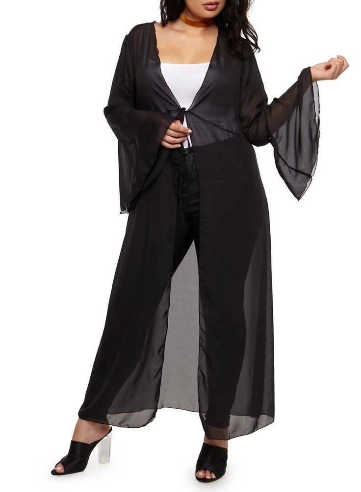 Plus Size Maxi Kimono with Tie Waist,BLACK,large