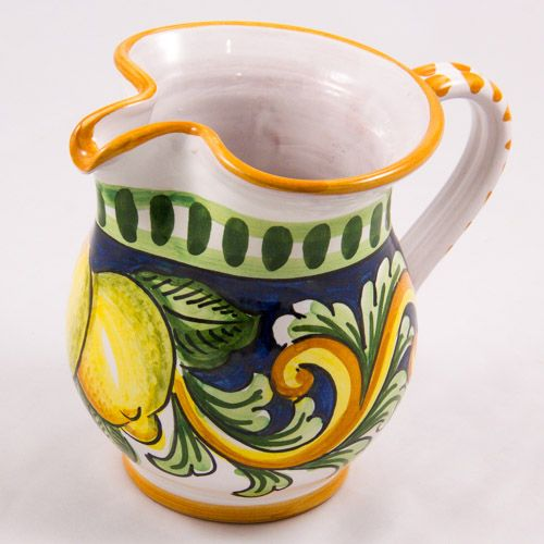 Miscellaneous: #Italy. Milk Jug from #Sicily. Two Lemons. #Caltagirone #Ceramics. Hand Made. Volume 0.25L