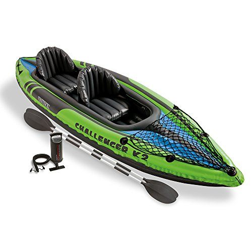 Intex Challenger K2 Kayak, 2-Person Inflatable Kayak Set with Aluminum Oars and High Output Air Pump - Challenger K2 Kayak 2 person kayak is made of rugged SUPER-TOUGH vinyl made stronger for durability. High visibility graphics allow others to see you easily. The cockpit is designed for comfort and space and has an inflatable seat and backrest. US Coat Guard ID.