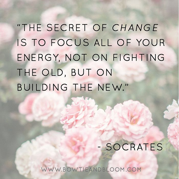 'The secret of change is to focus all of your energy, not on fighting the old, but on building the new.' Socrates