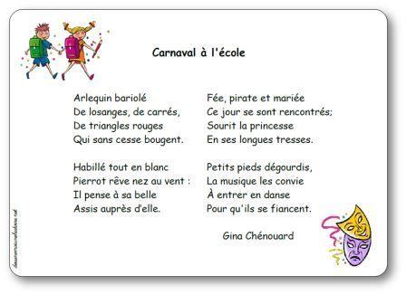 Poésie Carnaval à l'école Gina Chénouard