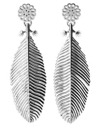 Large Silver Snow Feather Earrings - Boh Runga | Shop New Zealand NZ$ 179.00