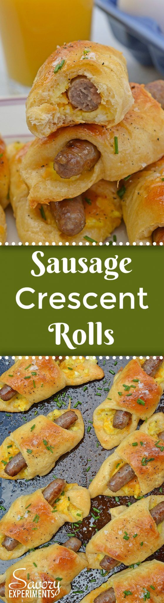 Look no further for a quick breakfast idea! Sausage Crescent Rolls are an easy breakfast idea packed with protein. A breakfast of champions! AD #easybrakfastideas #quickbreakfast www.savoryexperiments.com via @savorycooking