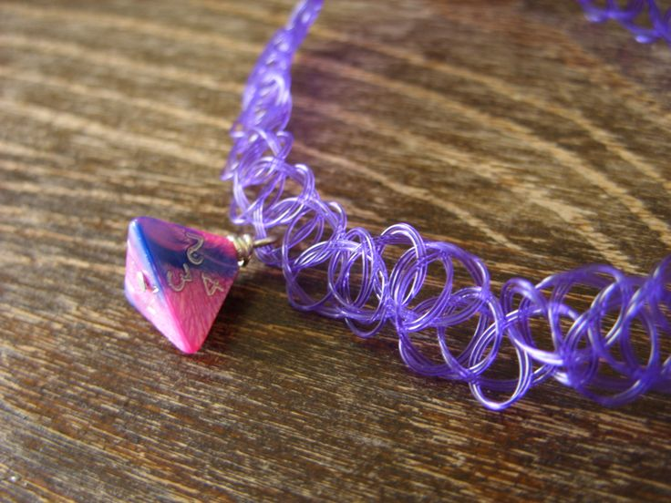 90's choker D4 dice pendant D20 dice choker pink purple blue dice necklace jewelry dnd rpg geek dungeons and dragons dice tattoo choker by MageStudio on Etsy