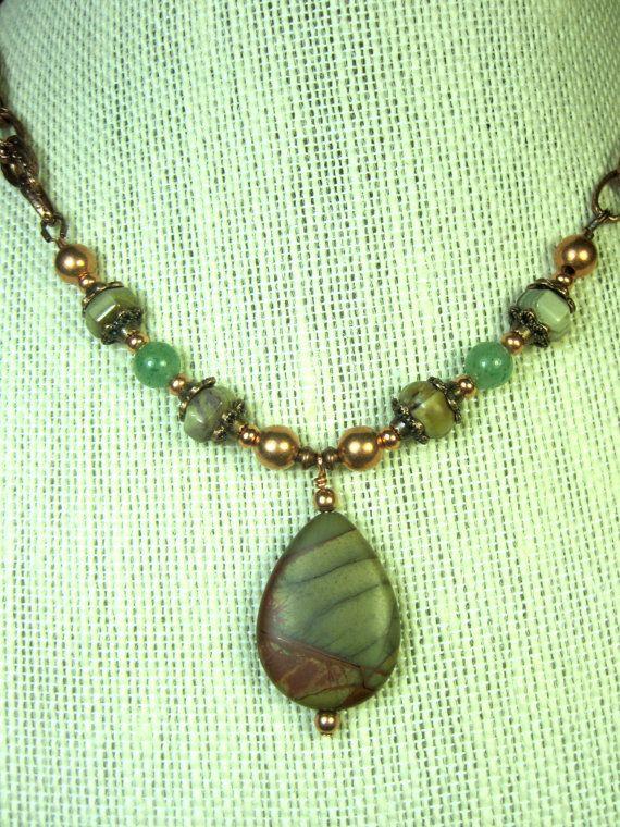 Handmade Copper & Semipreious Stone Necklace with Pendant. Red Creek Jasper Pendant. Green Aventurine, Copper and Stone Necklace. https://www.etsy.com/listing/207279498/handmade-copper-semipreious-stone?utm_campaign=crowdfire&utm_content=crowdfire&utm_medium=social&utm_source=pinterest