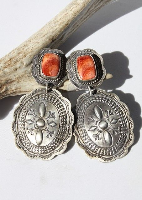 Navajo Repousse Concho and Spiny Oyster Earrings! http://www.cowgirlkim.com/navajo-repousse-concho-and-spiny-oyster-earrings.html