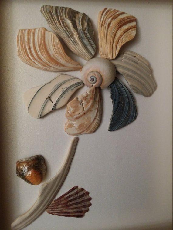Mar shell flor arte arte de concha de mar por madebynatureandme