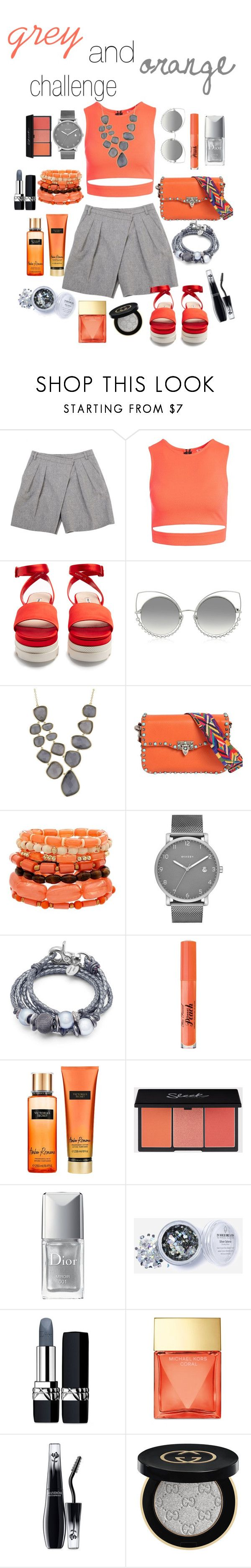 """grey and orange challenge"" by beautytime101 ❤ liked on Polyvore featuring Givenchy, Sans Souci, Miu Miu, Marc Jacobs, Marcia Moran, Valentino, Skagen, Lizzy James, Too Faced Cosmetics and Victoria's Secret"