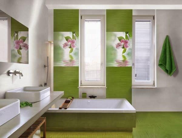 Salle de bain zen aux tons verts