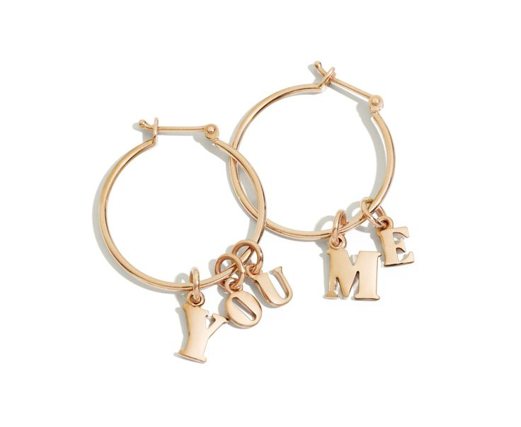 "Dodo ""You"" and ""Me"" rose gold earrings."