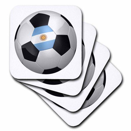 3dRose Argentina argentinean argentinian argentinan flag banner soccer ball national country, Ceramic Tile Coasters, set of 4