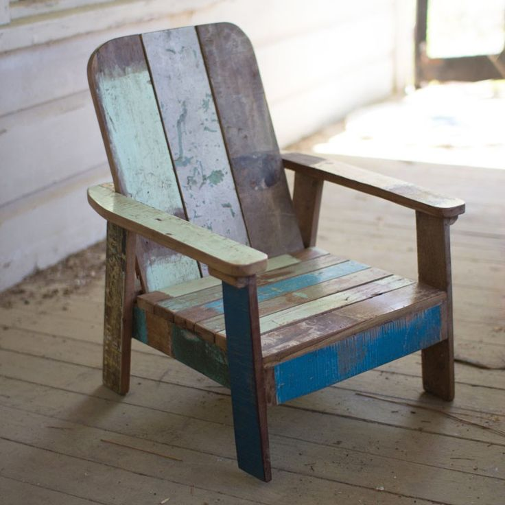 Now the littles can have their own sun chair with this mini version. Made of recycled teak and washed in cool, distressed blues and greens, it's the chair you'll have forever (even when the kids have grown out of it).