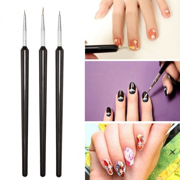 Best 25 nail art pen set ideas on pinterest diy nails tape diy 3 pcs tiny nail art painting drawing brush pen set prinsesfo Images