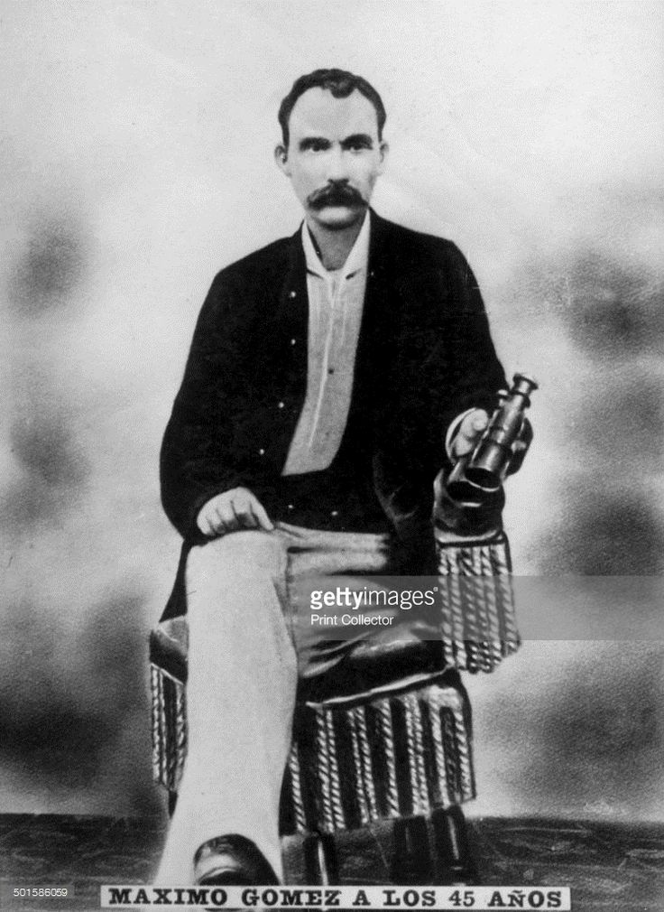 Maximo Gomez (1836-1905), aged 45, 1881 (c1910). Gomez was a Dominican Major General in the Ten Years' War (1868-1878). He was also Cuba's military commander during their War of Independence (1895-1898). Cigar card from the History of Cuba, Geografico Uni