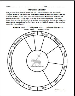Free printable Church liturgical calendar template to color. Site also has other Catholic worksheets and color sheets.