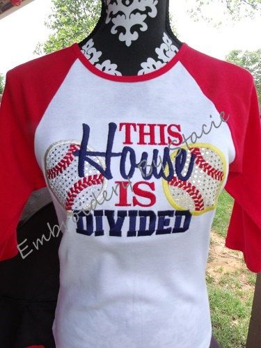 "Raglan ""THIS HOUSE Is DIVIDED"" Baseball & Softball Embroidered / Appliqued Womens T-Shirt (This lady is in Ardmore, OK.  I bet she'd love the Pitch for the Cure referrals!!)"