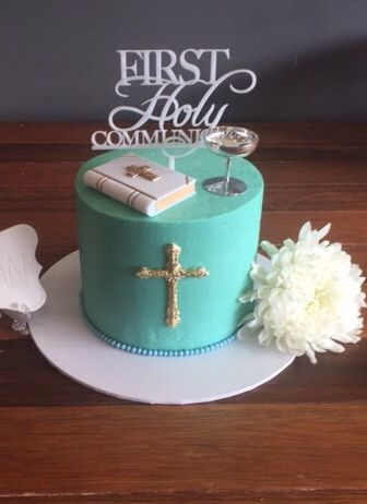 Holy Communion cake Turquoise buttercream, plain and simple.